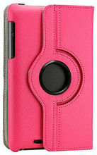 tablet case360 Degree Rotating PU Leather Case Cover Swivel Stand for Google Nexus 7 Asus Tablet, Hot Pink