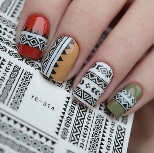 Tribal Geo Pattern Nail Water Decals Nail Stickers Accessories