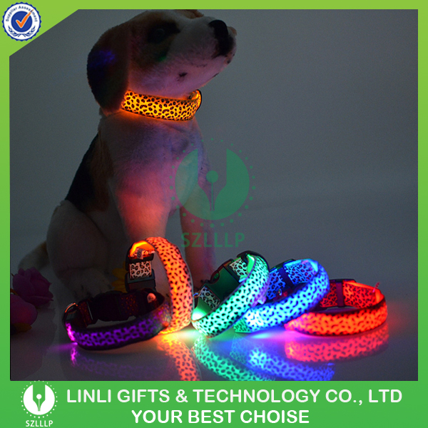 Various Colors Lead Necklace Adjustable Nylon Stripe Band/Silicone Dog Pet LED Flashing Collar,Rechargeable Led Light up Collar