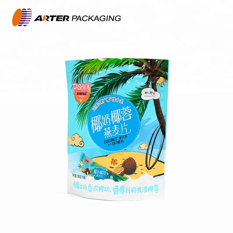 custom print stand up zip lock snack plastic packaging pouch bag
