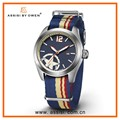 Assisi brand new army military leather strap fashion curren watch for men