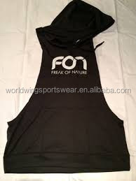 Mens custom cotton lycra plain color with screen print logo on front or back with hood large long droparmhole sports vest