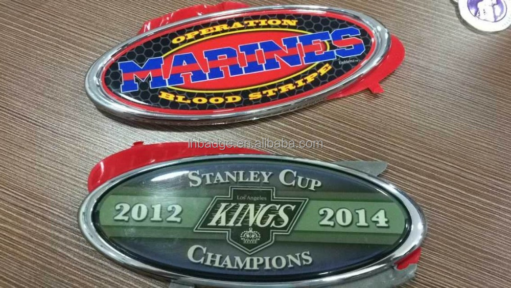 zinc alloy car emblem,metal oval car badge with epoxy resin printing logo,Chrome plastic or Metal Auto Emblem