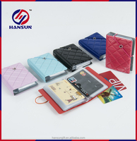 Factory price PVC embossed diamond waterproof business card holder with rope
