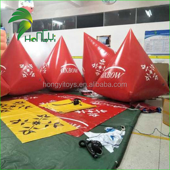 Durable Logo Printing Triangle Race Inflatable Buoy / Water Promotion Event Floating PVC Mooring Marker Buoy