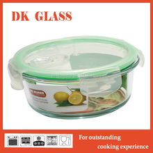 High borosilicate vacuum glass food container/ round storage box with airtight lid and pushing vent