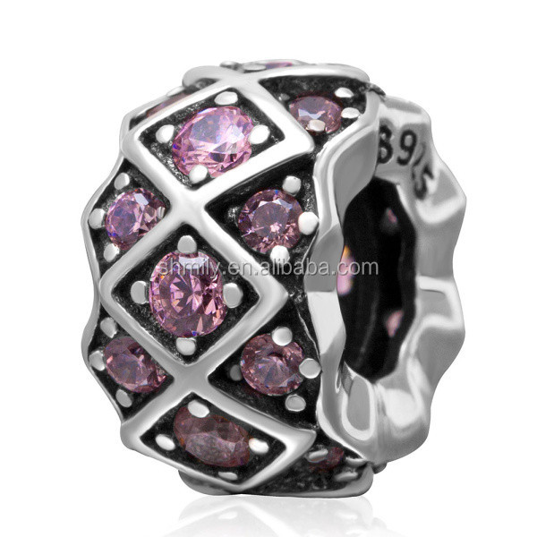 Pink Zircon Micro Pave Rhombus Pattern Large Hole Antique 925 Sterling Silver European Charm Beads DIY Jewelry Findings SZPB216