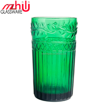 factory promotion RJ4012 16 Oz Retro textured Glass handmade embossed pattern for EU US bar hotel home tableware factory price
