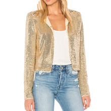 ladies Sexy night clothes gold sequined throughout dolly jacket women