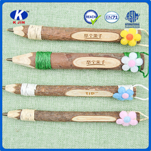 Factory direct sale new model design advertising wooden ball pen with string coiling flower for gift