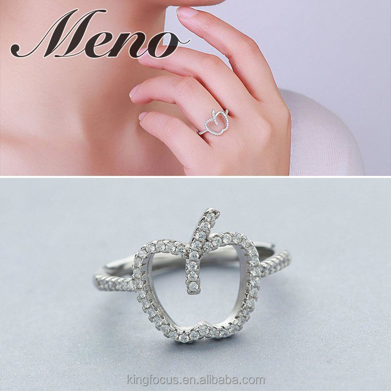 Meno S925 silver ring lady wish love story apple CZ opening