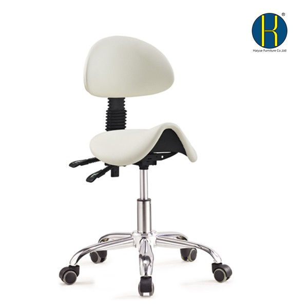 2017 Comfortable professional white synthetic leather barber stool with gas lift