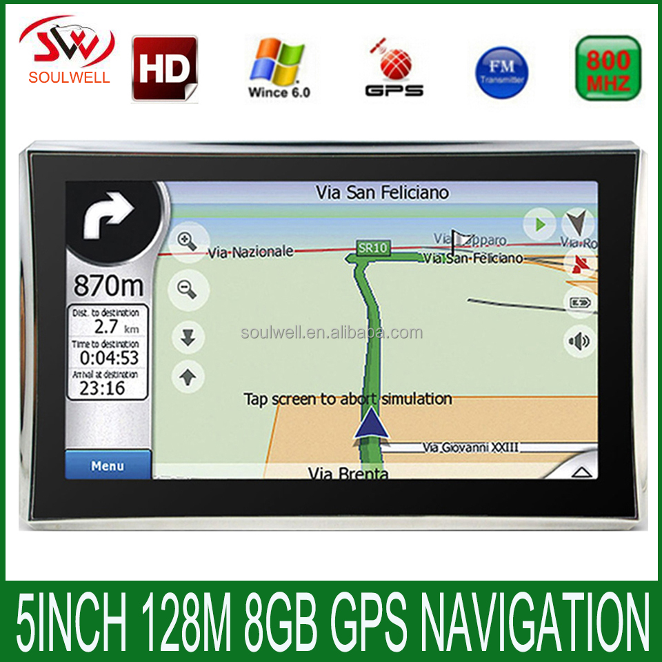 5 inch Car GPS navigation 128MB 800Mhz 8GB Full Europe/USA/ Russia navigator Sat Nav Truck vehicle gps