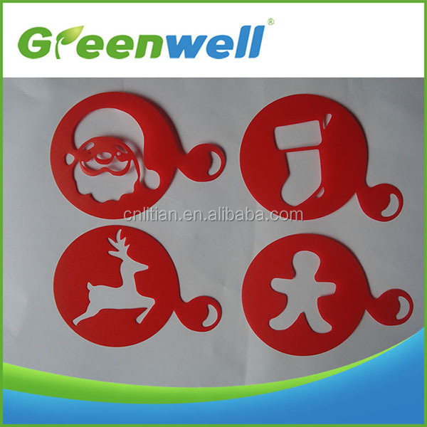 High reputation Christmas holiday decoration plastic coffee stencils