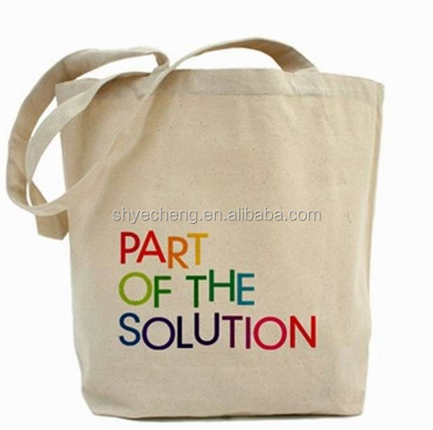 100% recyclable promotional custom organic canvas plain cotton canvas tote bag