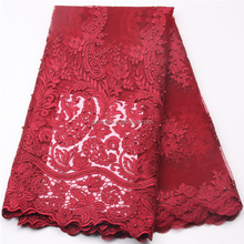 New Fashion Dress Design African Net Fabric Embroidery Lace Red Beaded French Tulle Lace Fabric