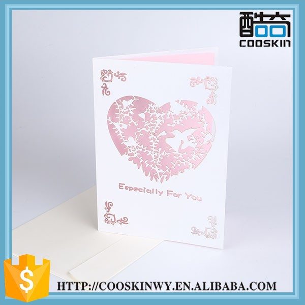 Economical custom design heart shaped wedding invitation card