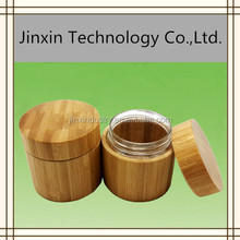 Round plastic type wooden bamboo cosmetic jars for skin care cream use