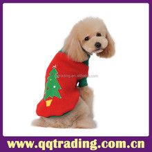 Red color fashion christmas hat tree machine cute knitting warm pet dog sweater