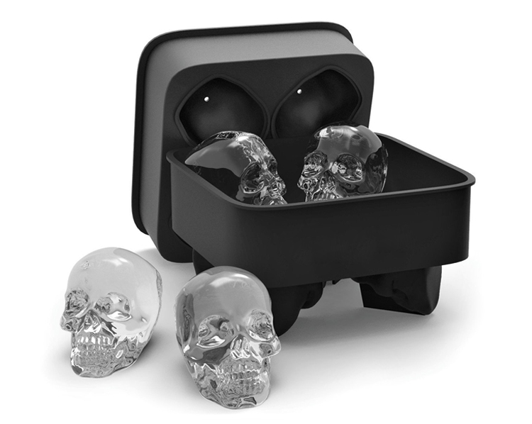 Cocktails Whiskey Halloween Party Cranium Shape Ice Ball Cube Tray Custom Silicone Ice Mold