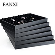FANXI Custom Luxury Black Leatherette Ring Necklace Bangle Bracelet Packaging Boxes Led Jewelry Box