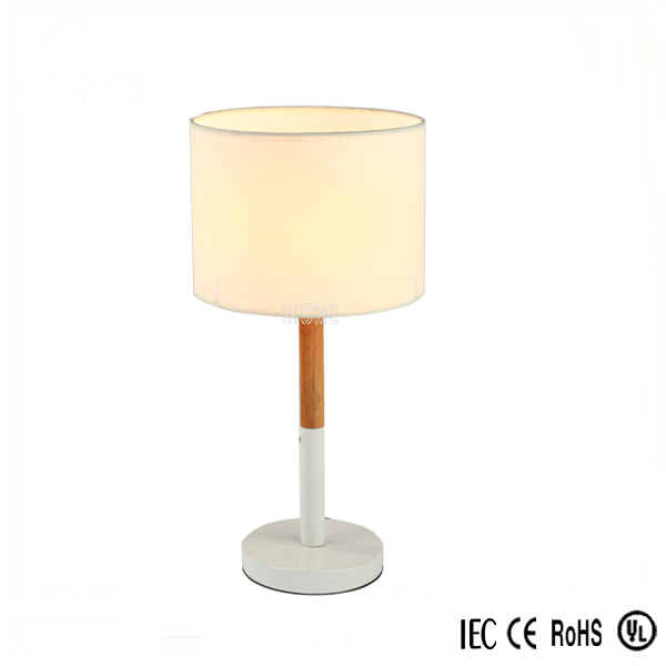 2017 Hot Sale Rohs Wood Table Light hotel Table Lamp With Led Night Light ,White fabric shade
