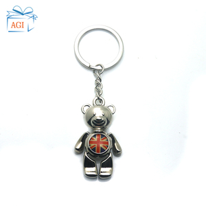 promotional cute teddy bear souvenir metal keyring