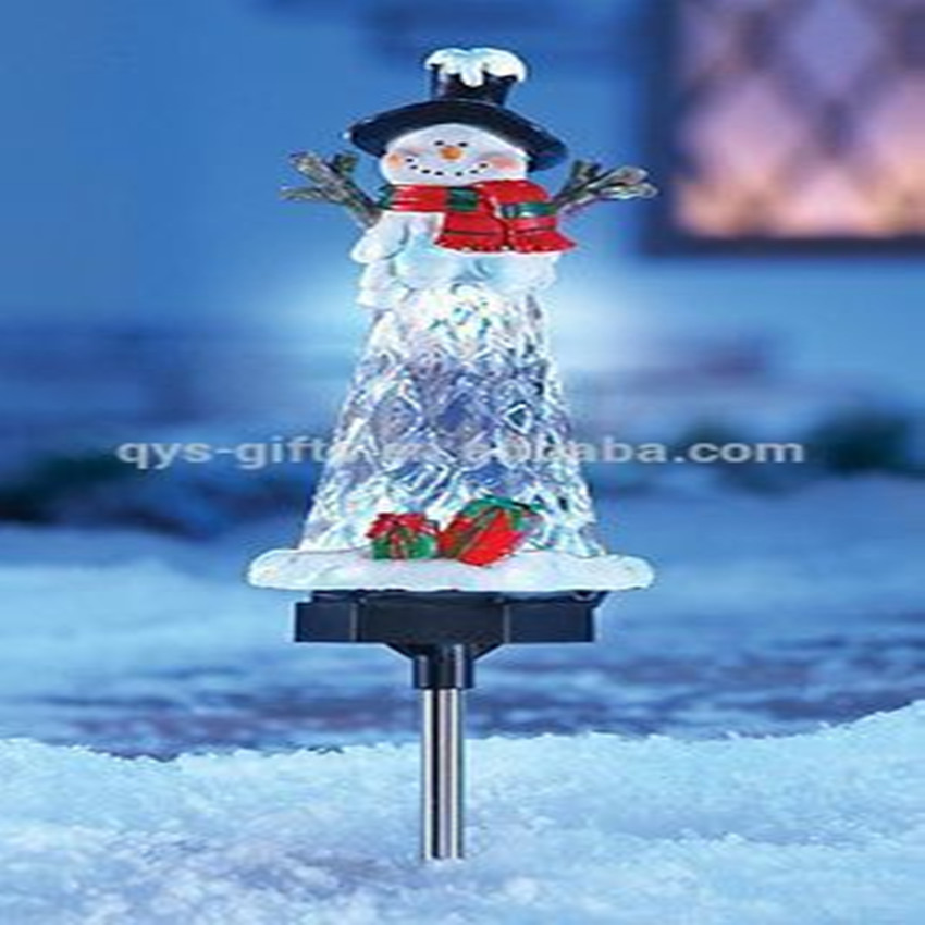 Collections etc solar lighted snowman garden yard stake
