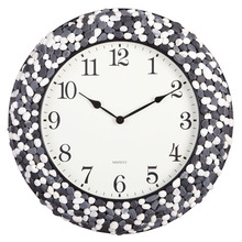 black and white mosaic antique natural stone wall clock