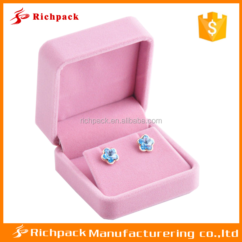 2016 hot sale pink velvet jewelry boxes necklace and earrings sets boxes
