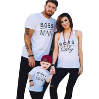 Family Clothes Clothing Set Custom Letter Printing Short Sleeve One Size Fits All Wholesale T-Shirt For Kids and Adults