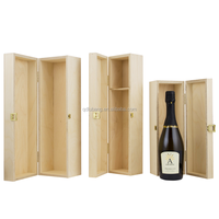 high quality hinged and clasped magnum unfinished wooden wine box