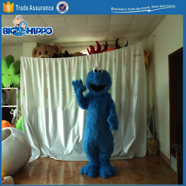Blue hairy fuzzy furry monster loves cookie friendly sesame popular cartoon character high quality custom mascot costume