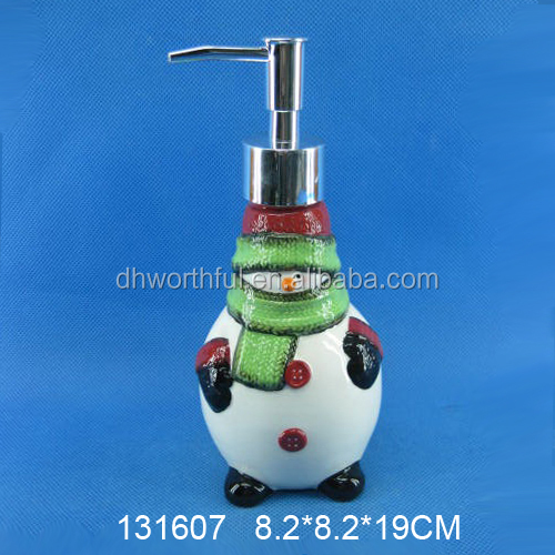 Cute snowman shaped ceramic christmas soap dispenser for custom