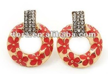 Fashion Gold Plated Coral Enamel Diamante 'Circle' Drop Earrings circle earrings enamel earrings