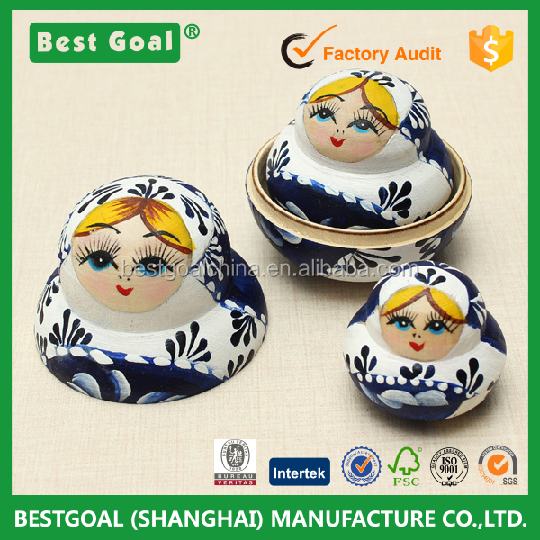 Big Promation New Limited Edition 10pcs New Blue Wooden Russian Nesting Dolls Dried Basswood Matryoshka Doll toy gifts