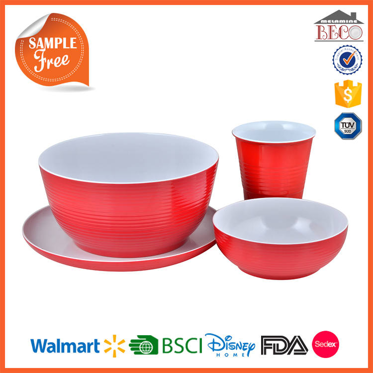 Melamine Factory Two Tone Color Red Plastic Chinese Tableware With Custom