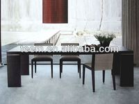 Natural walnut veneer wooden dining tables large extendable dining table