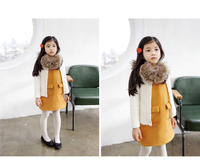 Korea Girl Autumn And Winter Dress Cotton Vest Kids Dress With Removable Woolen Collar Child Clothes With Pockets GD81108-91