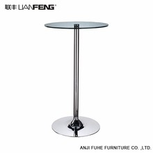 High quality black round glass bar table