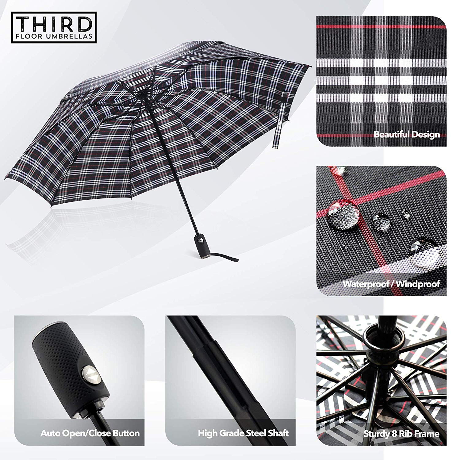 Wholesale 46 Inch Automatic Inverted Compact Reverse Big Lightweight Upside Down Foldable UV Travel Umbrella
