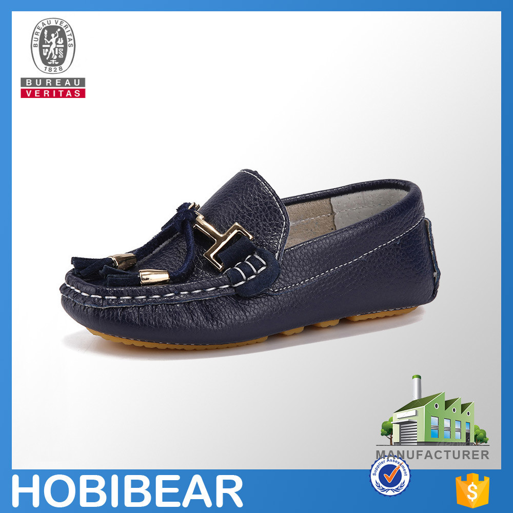 HOBIBEAR OEM/ODM slip on leather children casual kids flat loafer shoes for boys
