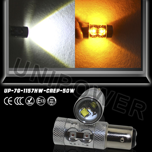 50W 1157 2357 P21/5W DUAL COLOR led Switchback Turn Signal Lights WHITE/YELLOW AMBER Leds