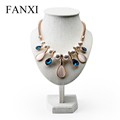 FANXI Chinese Wholesale Elegant Necklace Display Stand Bust Beige Linen Jewelry Display Mannequin Stand