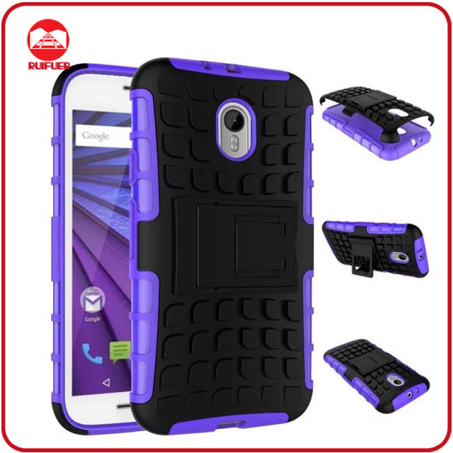 Dual Layer Tough Rugged Kickstand Hybrid Heavy Duty Armor Shockproof Case for Motorola Moto G3 ,3nd Generation