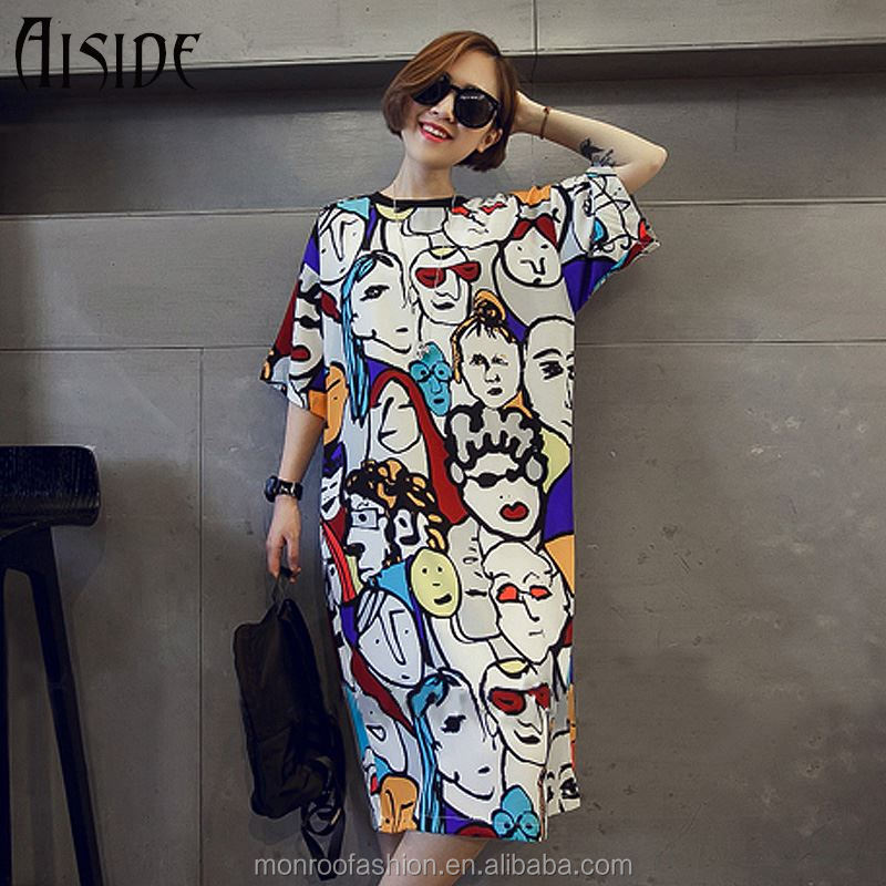 monroo American Style Long t shirt women Loose print 3d O neck harajuku funny t-shirts Unique Hip Hop Punk Style t shirts