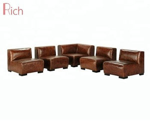 Modern L-Shaped Lobby Corner Couch 6 Seater Leather Sectional Sofa