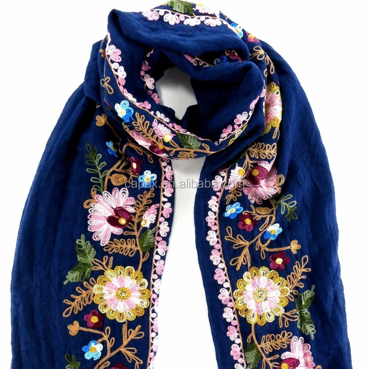 Custom Wholesale Navy polyester embroidery flower ladies <strong>scarf</strong>