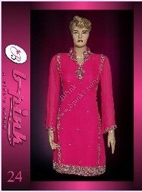 Pakistani Women Suits (Shocking Pink Chiffon Suit)