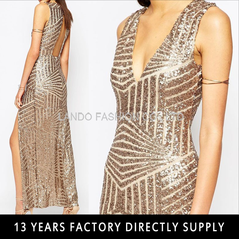 Lando USA UK Sexy Fashion Plunge V Open Back High Split Embroidery Sequin Dress Christmas Party Dress Evening Dress